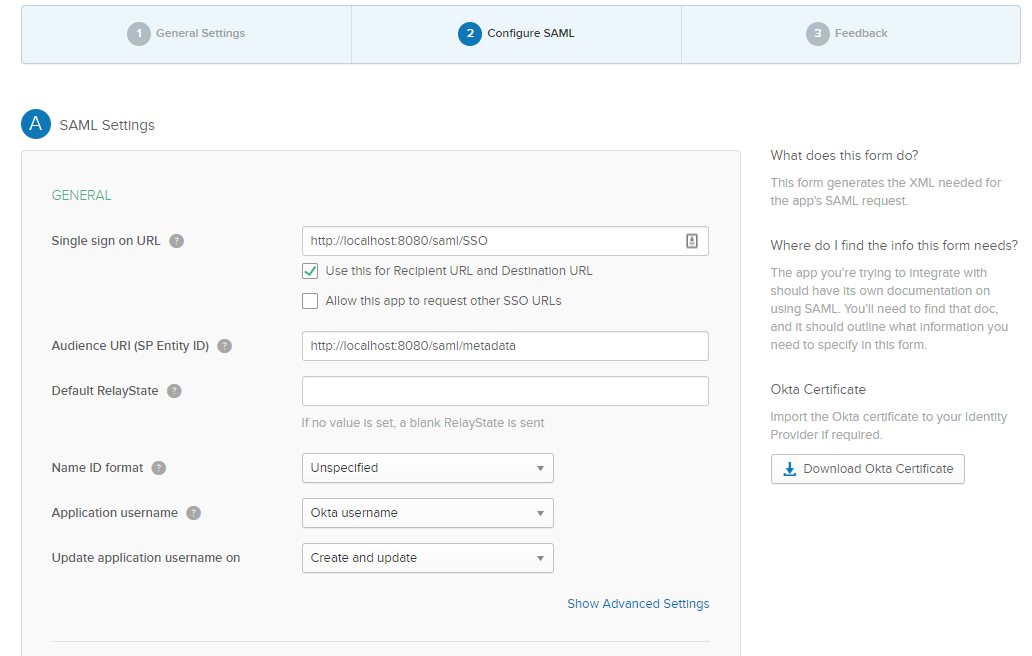 Provide your SSO and Audience URLs