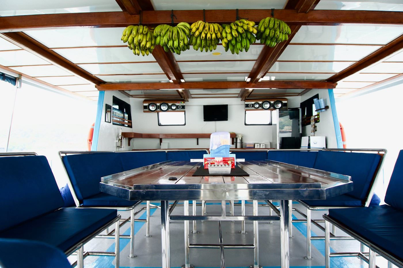 The Dream Banyak Islands Surf Charter Boat outside dining