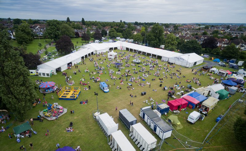 Birds eye view of the 2016 summer festival family fun day attractions
