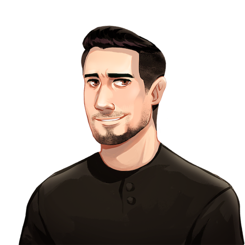 An illustrated portrait of Brett