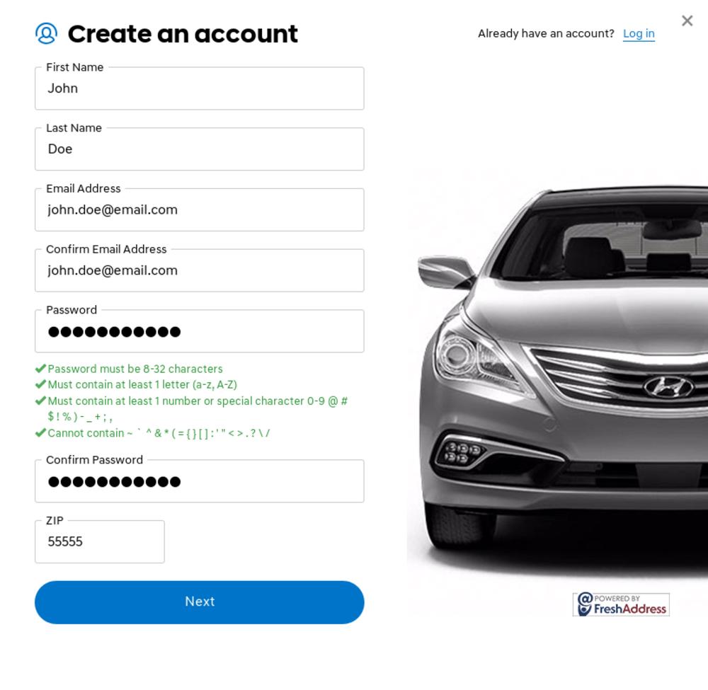 Hyundai account creation form