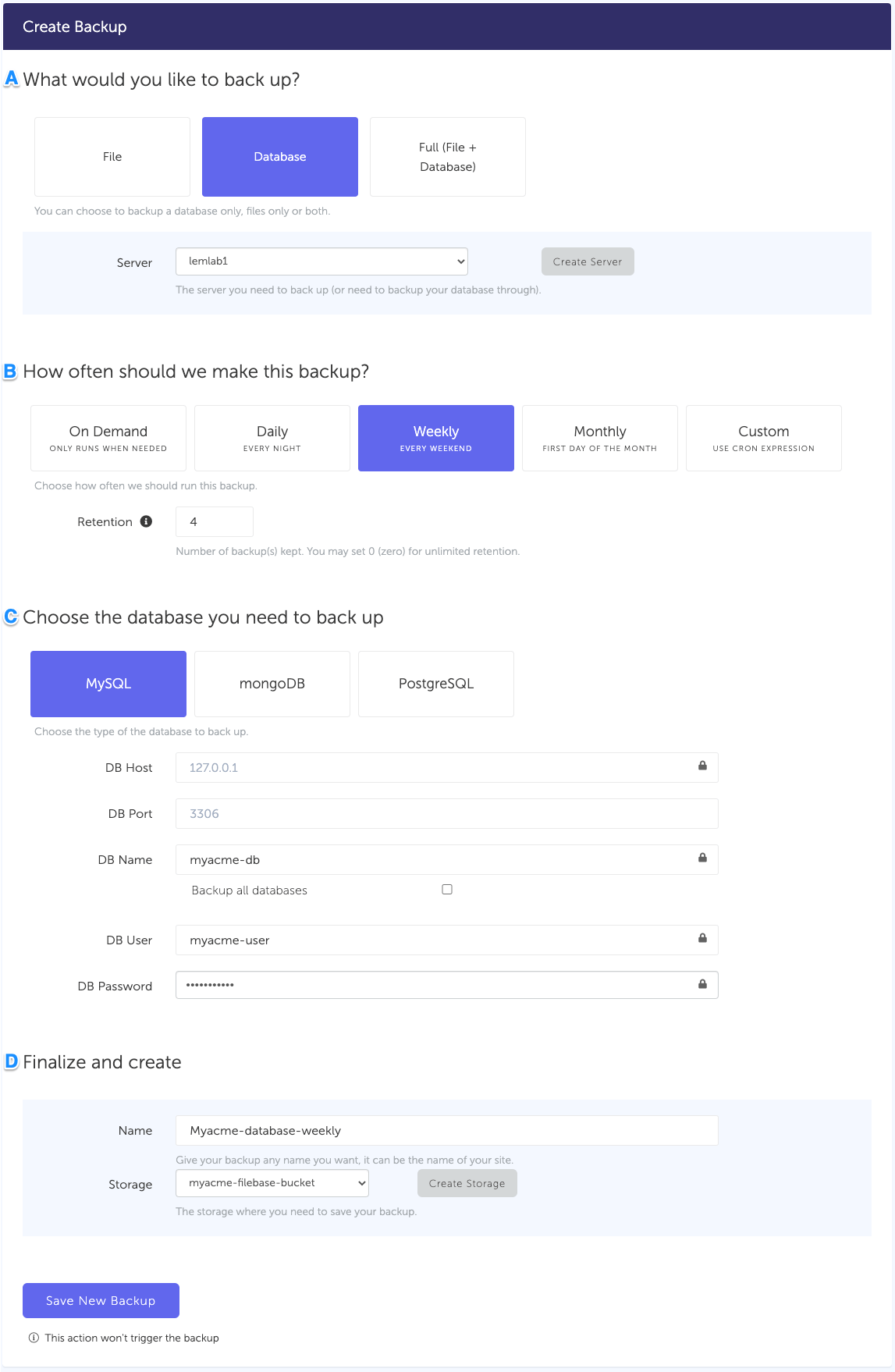 Configuration form, for a MySQL database backup connected to your Google Cloud Storage storage