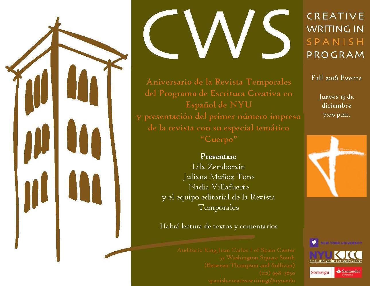 image from Thursday, December 15, 7:00 p.m. Aniversario de la Revista Temporales del Programa de Escritura Creativa en Español de NYU