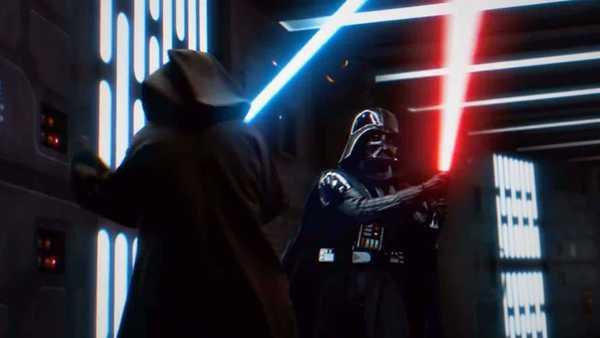 Cena 38 Star Wars Episodio IV Uma Nova Esperanca com Obi Wan Kenobi e Darth Vader em cena