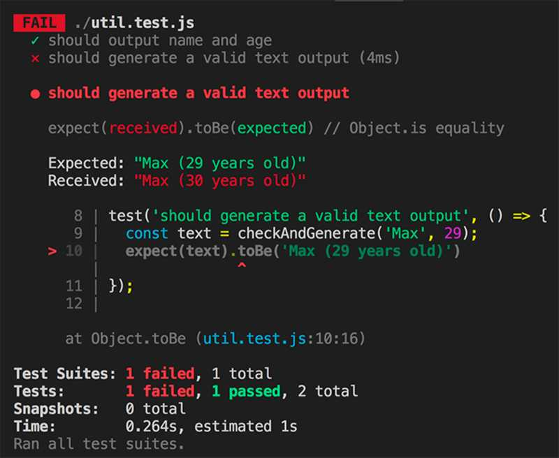 If a test fails, you quickly see which code broke.