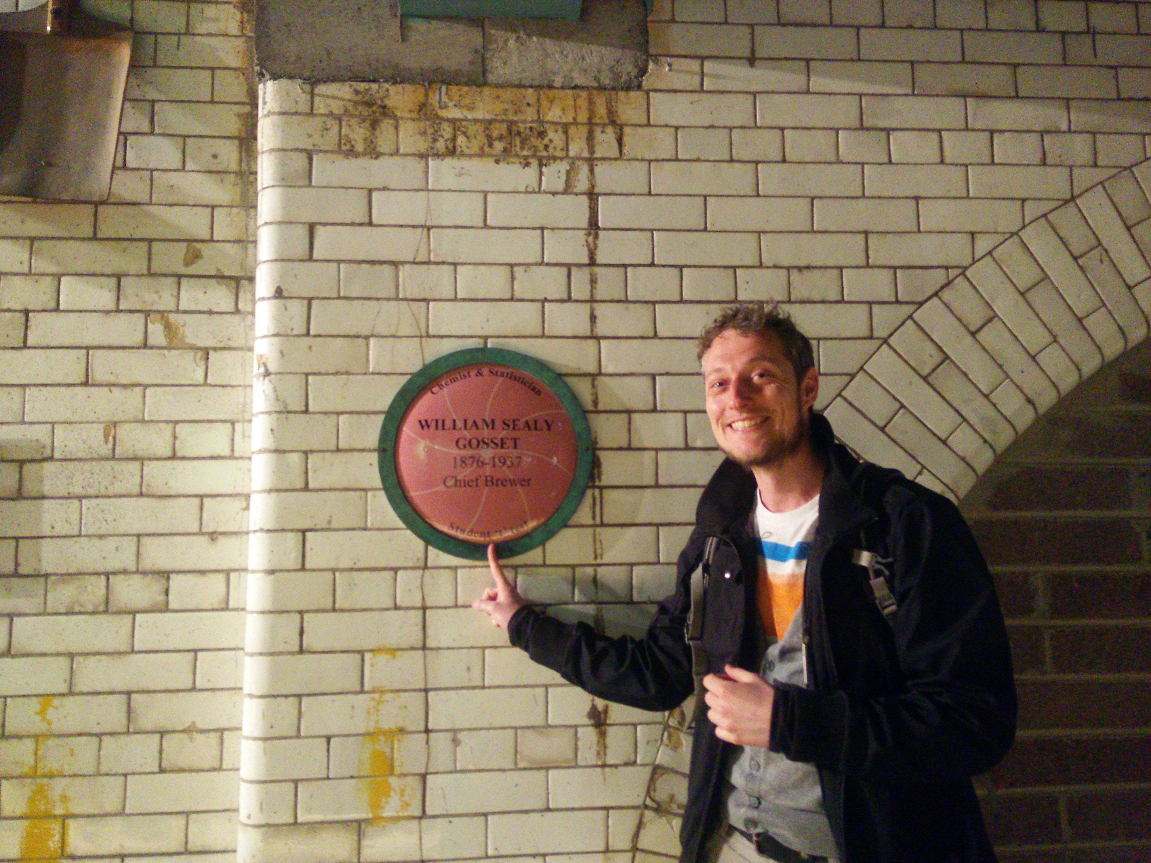 Me with a plaque in the Guinness Storehouse commemorating Gosset