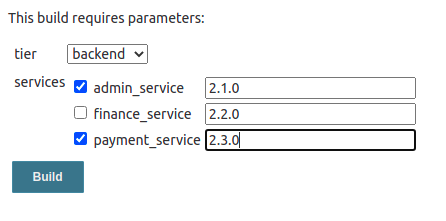 Sample values for the job
