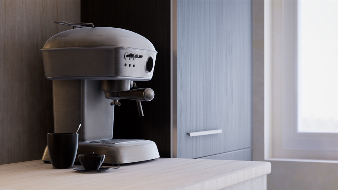 Ray-traced real-time visualisation of a kitchen in unreal engine 4.