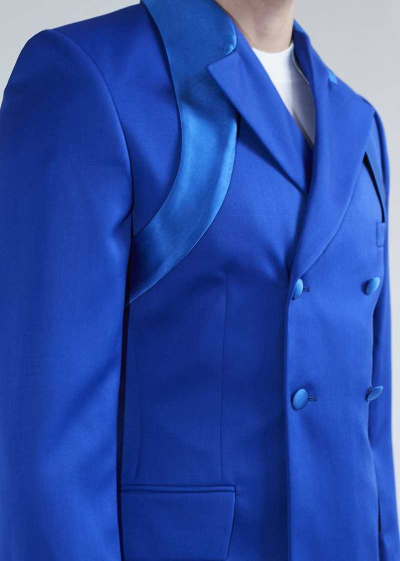 Thulium blue tailored jacket for men. GmbH SS20 collection.