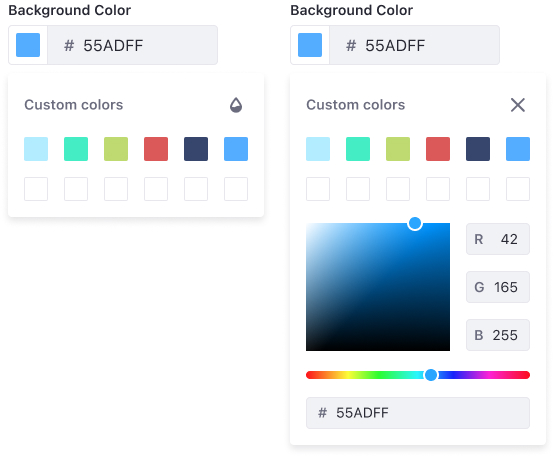 Color picker at its unrestricted version where a custom color palette is shown along with the custom panel