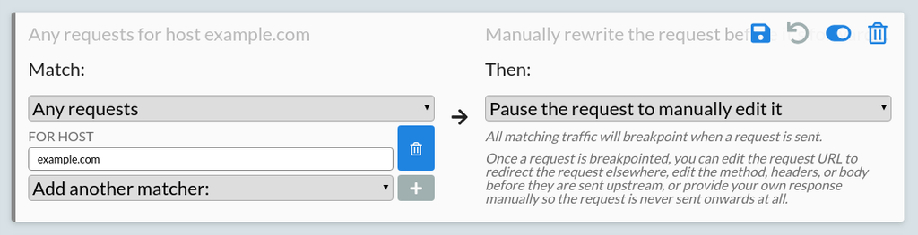 A configured rule to rewrite example.com traffic