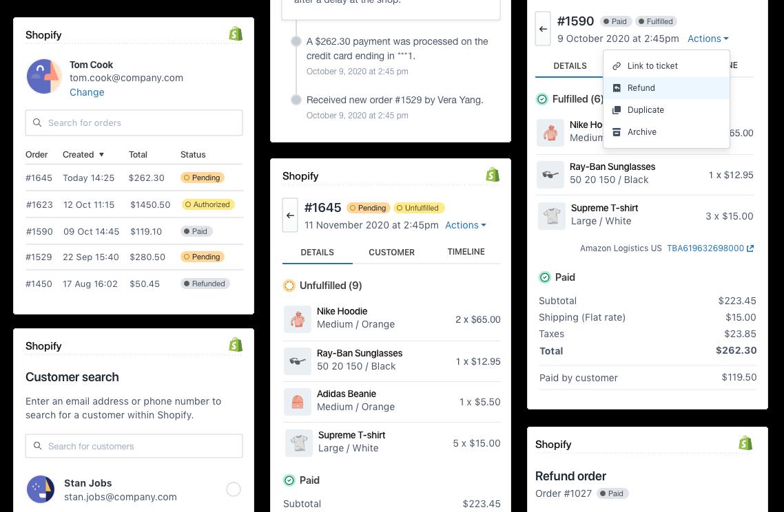 Shopify integration for Zendesk Support