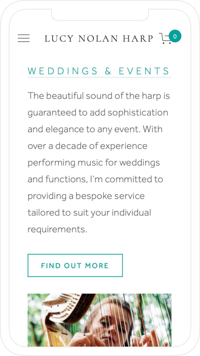 Responsive website design by Jack Watkins for award-winning classical musician and harpist, Lucy Nolan
