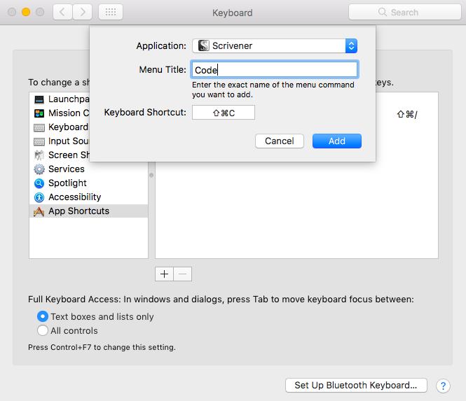 adding a keyboard shortcut