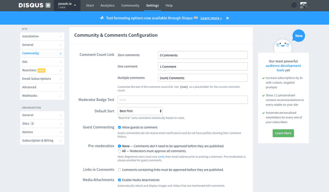 Disqus community admin settings