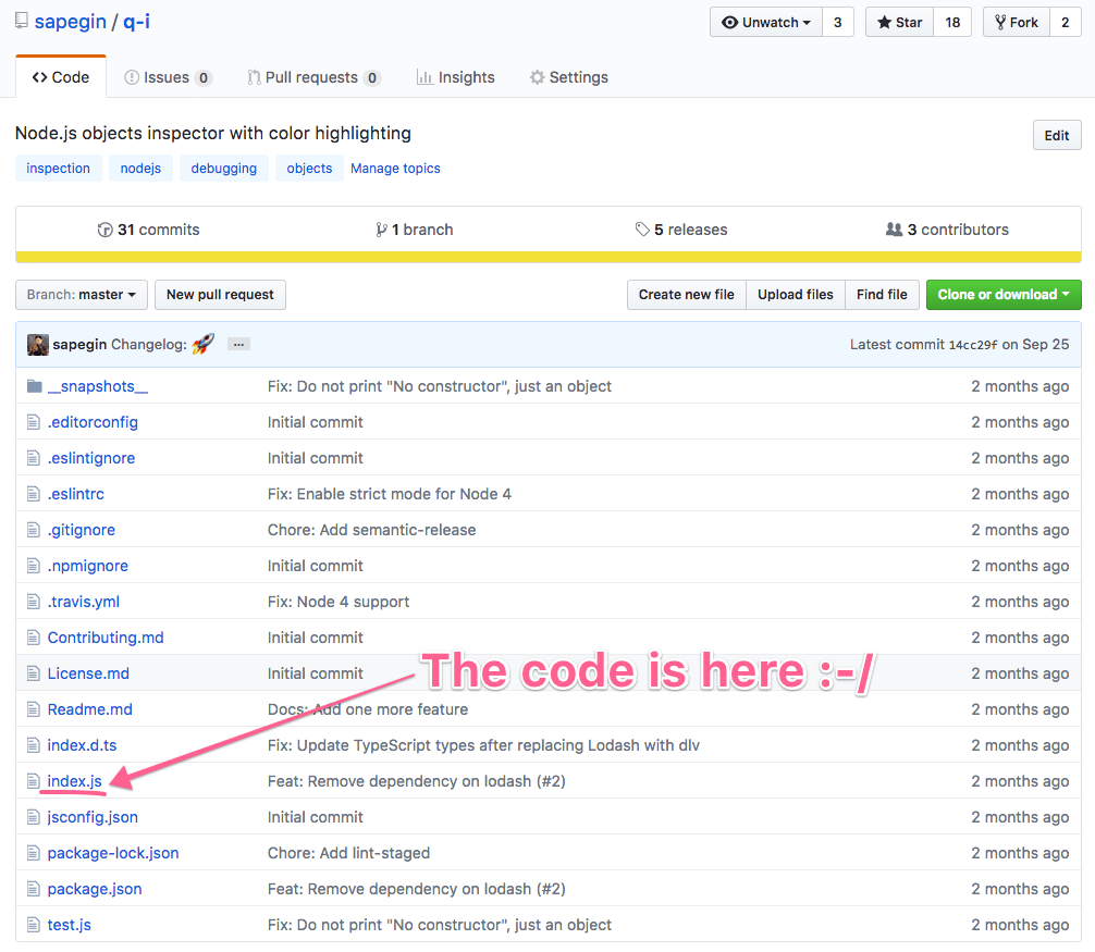 Typical open source project on GitHub: lots of configuration files for just a single file with the source code