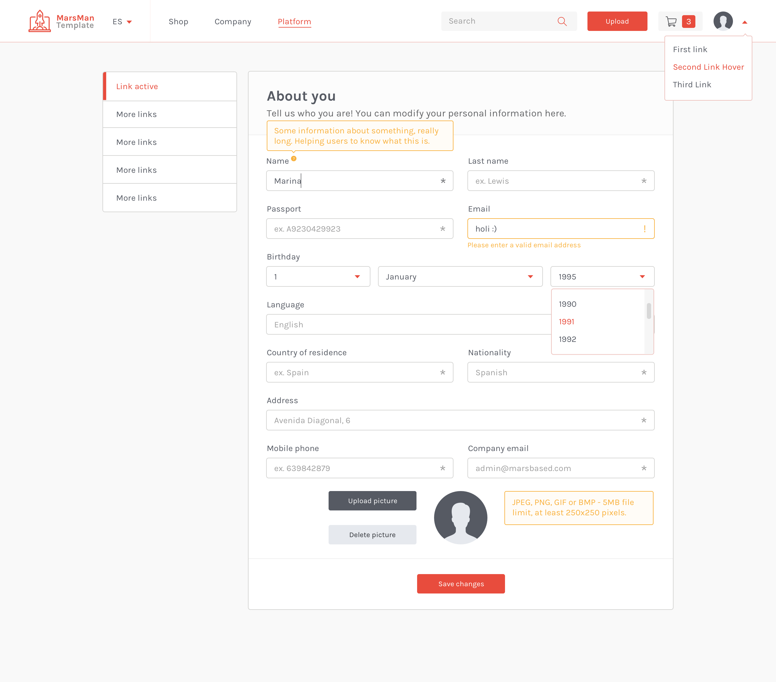 Edit Profile page in the MarsMan Template