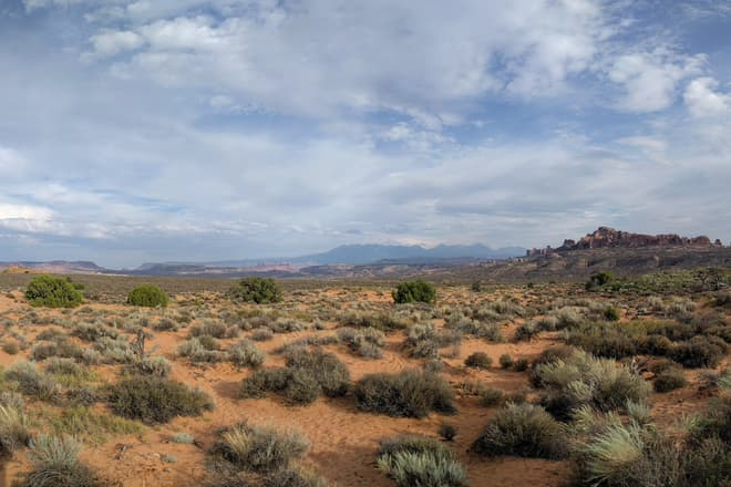A desert panorama across Arches National Park.