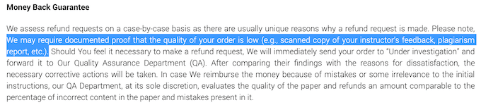 edusson.to get a refund, you have to provide a documented proof that the quality of your order is low