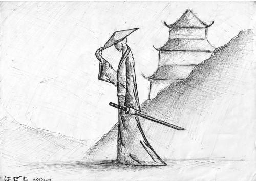 Samurai Tipping Hat Sketch