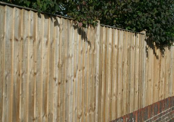 Closeboard wooden fence