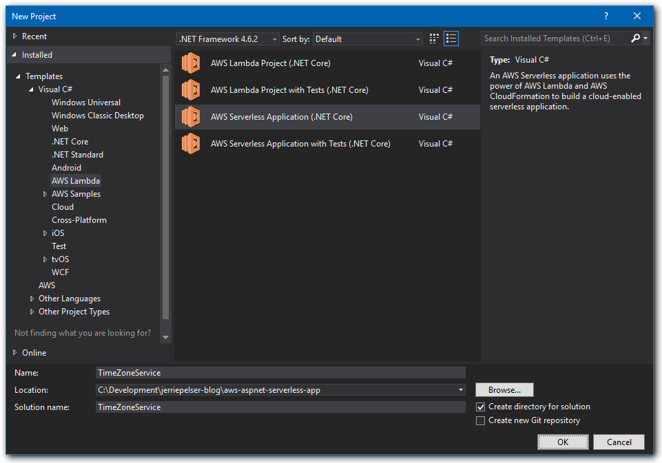 Creating a serverless application with asp core aws lambda and inside visual studio create a new project and select the aws serverless application core template malvernweather Gallery