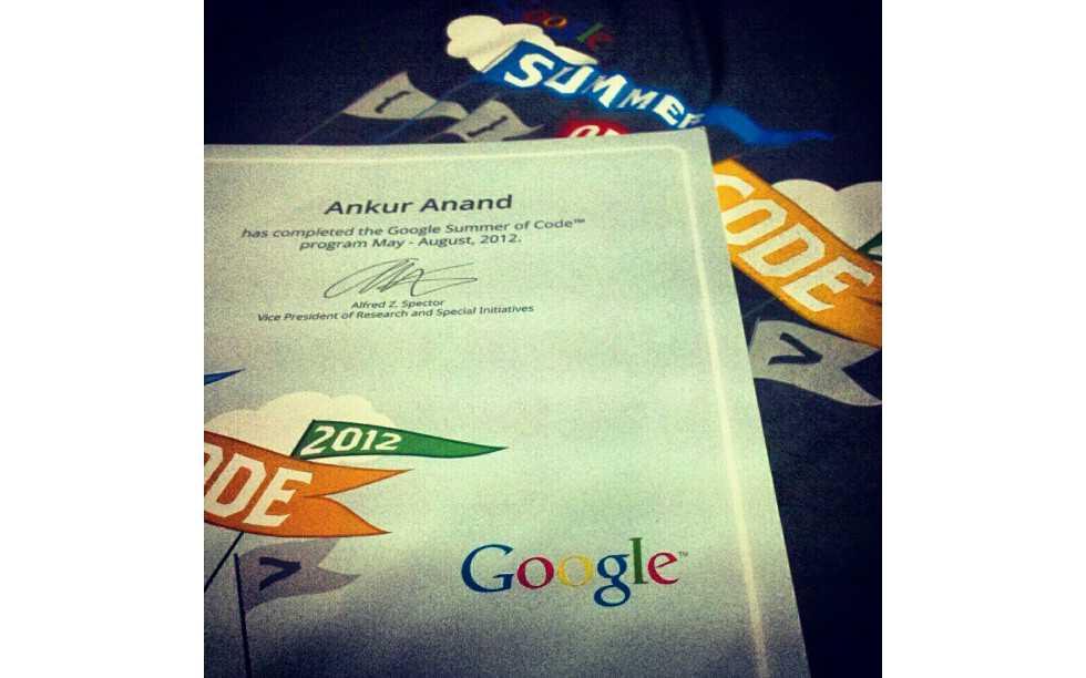 Google Summer of Code certificate