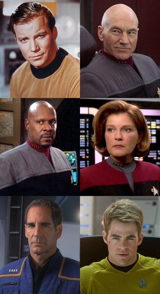 All six Star Trek captains