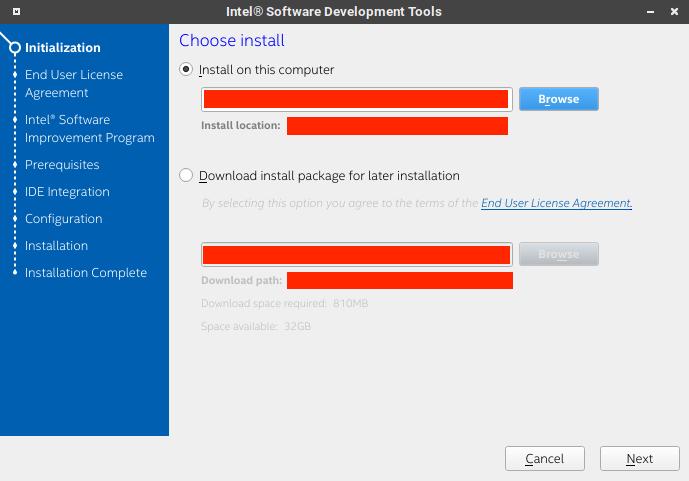 選擇 Intel System Studio 的安裝路徑