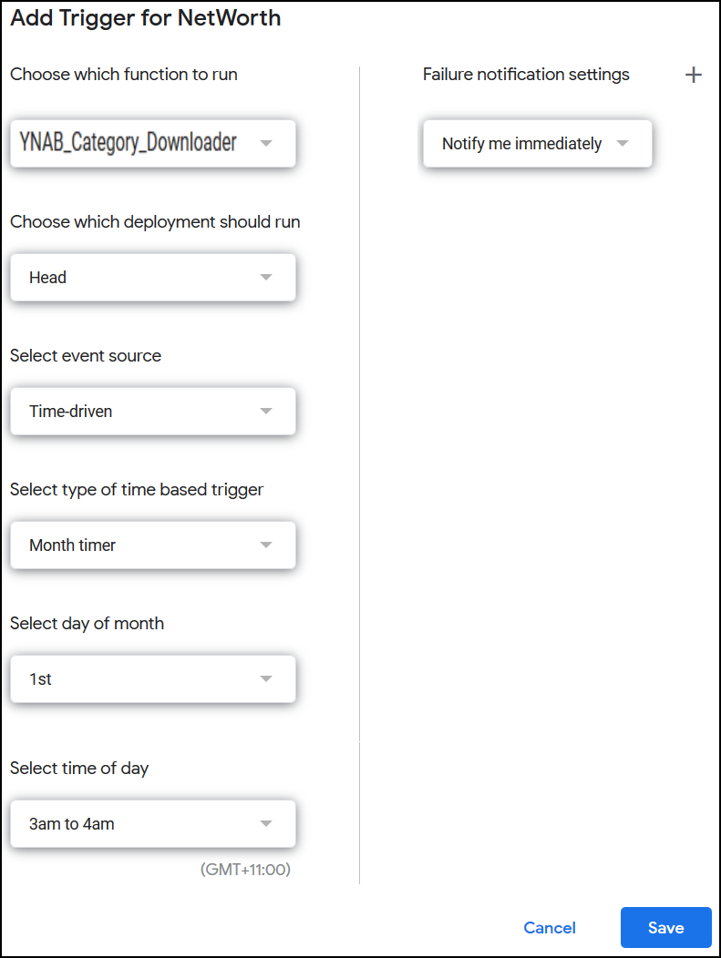 Select YNAB_Category_Downloader, Head, Time-driven, Month timer, 1st, 3am to 4am, Notify me immediately, Save