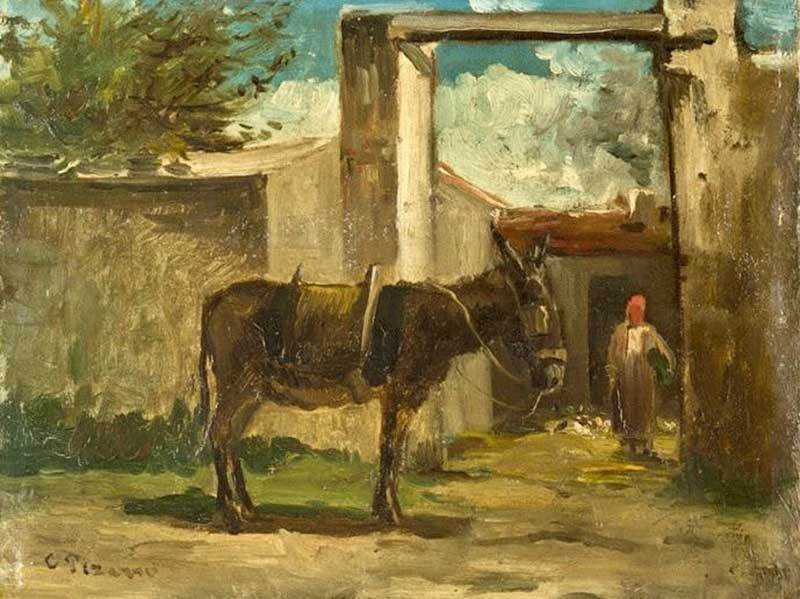 'Donkey in Front of a Farm, Montmorency' by Camille Pissarro (c. 1859)