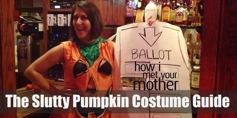 The slutty costume itself consists of a pumpkin suit with the eye holes strategically cut out in the chest area, black fishnet gloves, black fishnet stocking, black heels, and lastly a black bandeau bralette