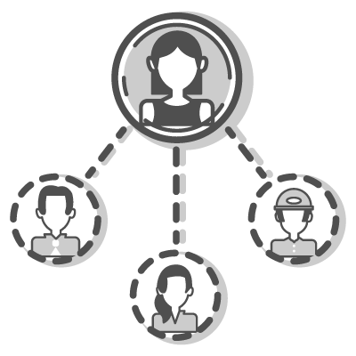 Icon showing the interconnectivity of Workhub