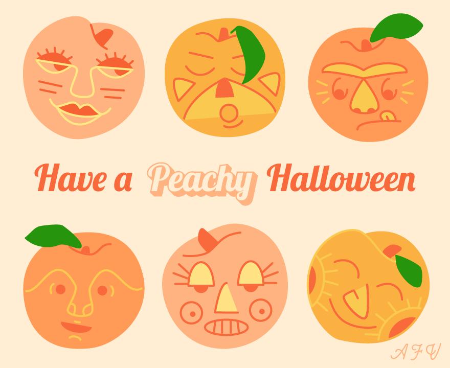 October peach postcard