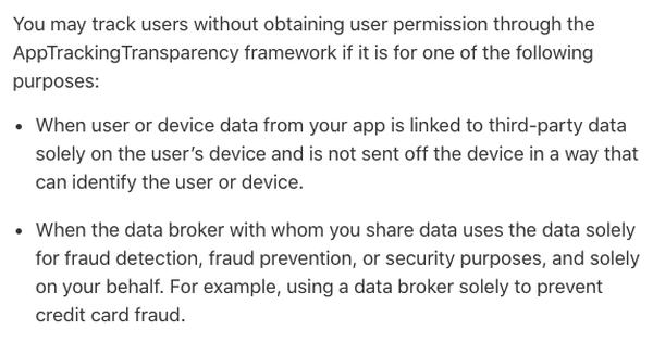 <그림 2. 사용자 동의 없이 IDFA를 취득할 수 있는 예외 조항 (출처:developers.apple)>