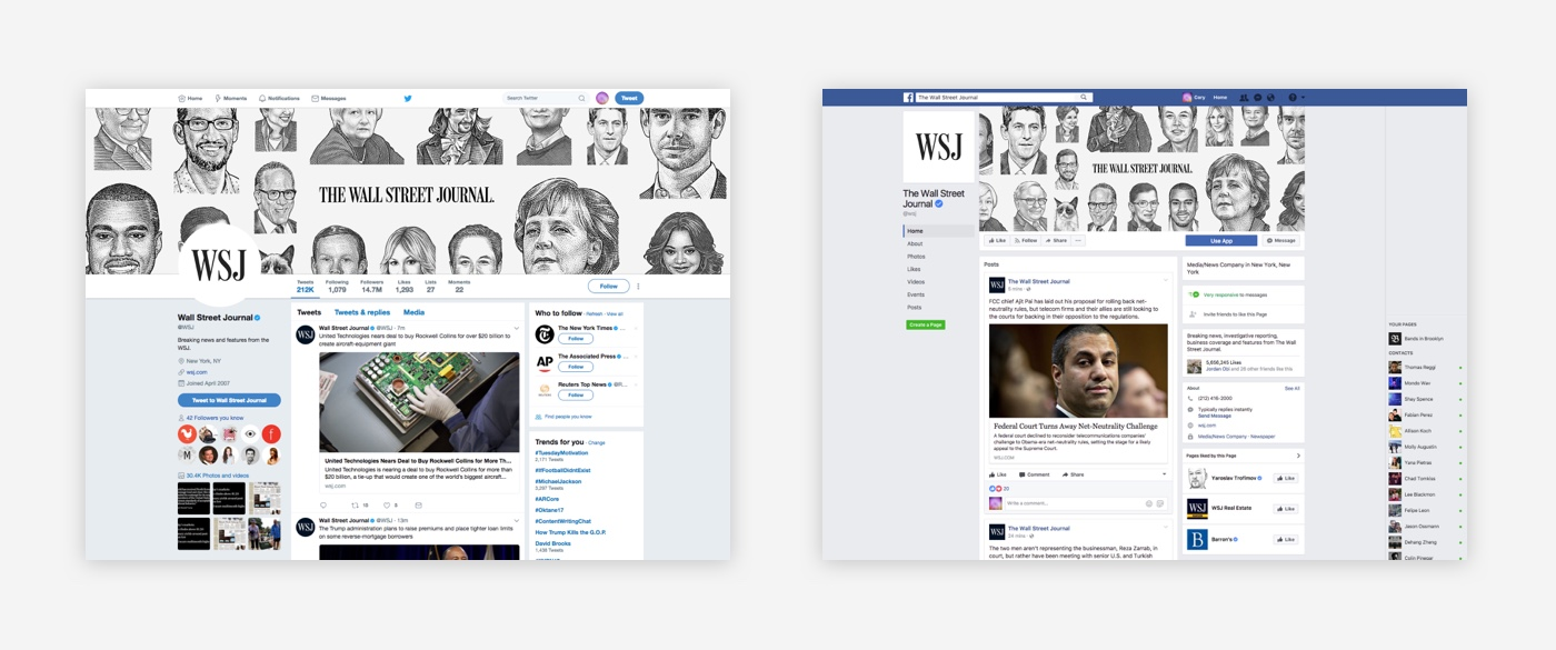 WSJ branding for Facebook and Twitter.