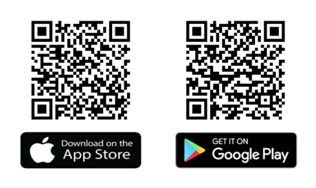 App Store and Google Play QR codes.