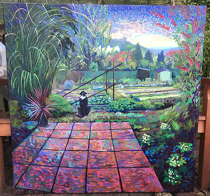 painting of vibrant allotment scene including dog