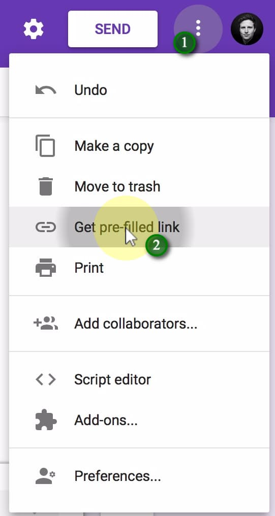 (1) Click the More button in the top right, then (2) Get pre-filled link.;