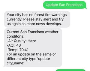 Providing local forest fire updates for California residents
