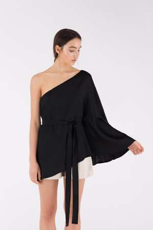 One Shoulder Silk Top, Black