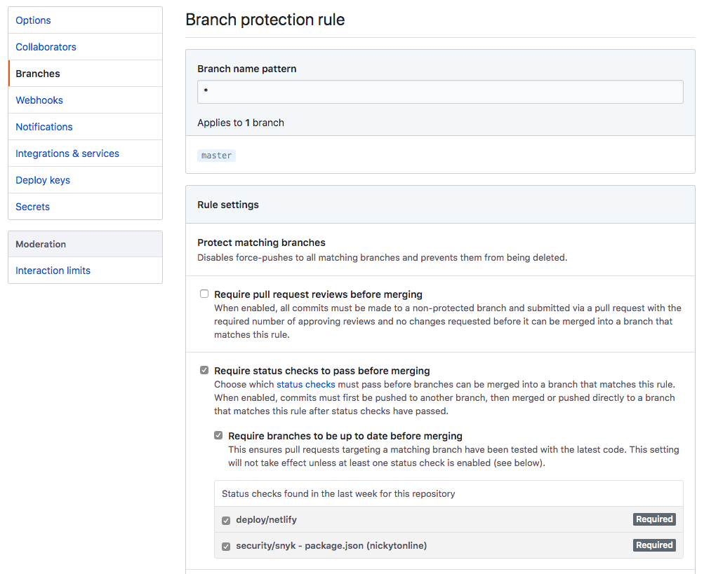 Branch Protection Rule