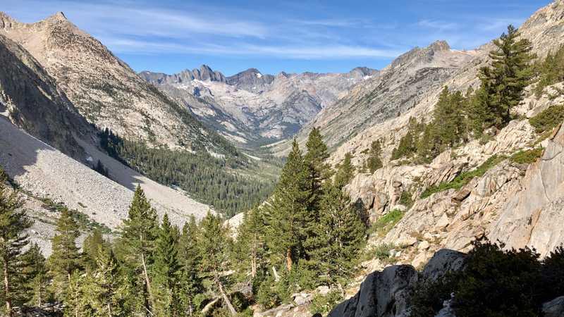 Looking back at Palisades Canyon