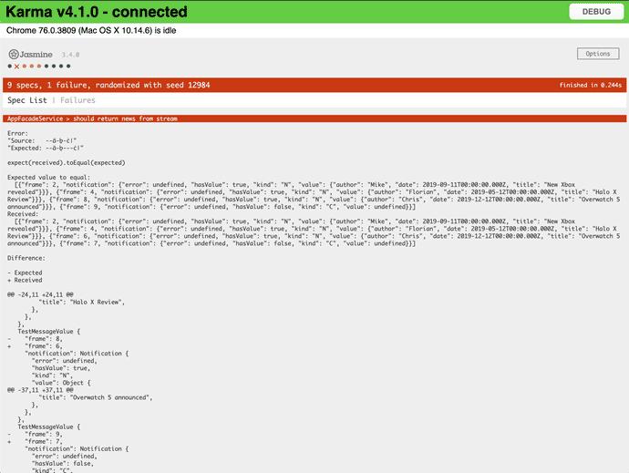 Angular Karma output failed test