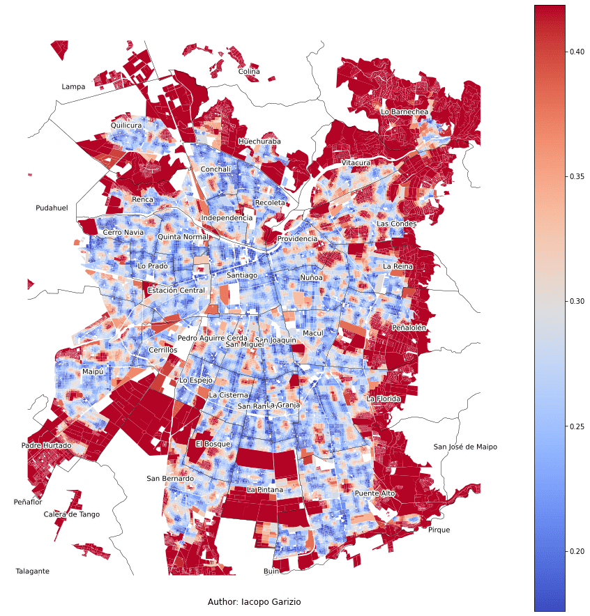 Average distance to the nearest 10 stops or stations in Santiago