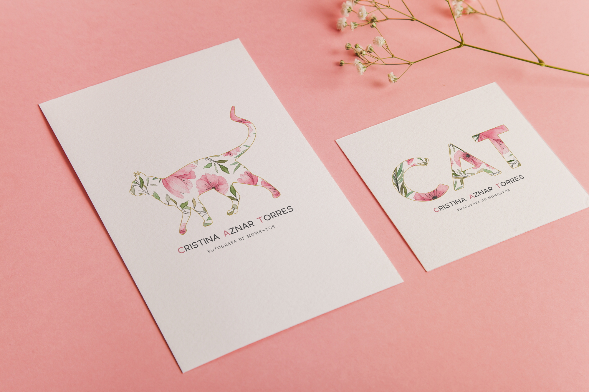 watercolor business card and logos for Cristina Aznar Torres, photographer item