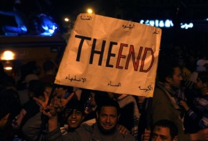 Anti-government protesters carry celebrate the fall of Hosni Mubarak in Tahrir Square in 2011. (Yannis Behrakis/Reuters)