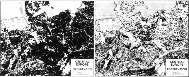 The-extent-of-forest-in-central-Europe,-ad-900-and-ad-1900-– Williams-(2000)