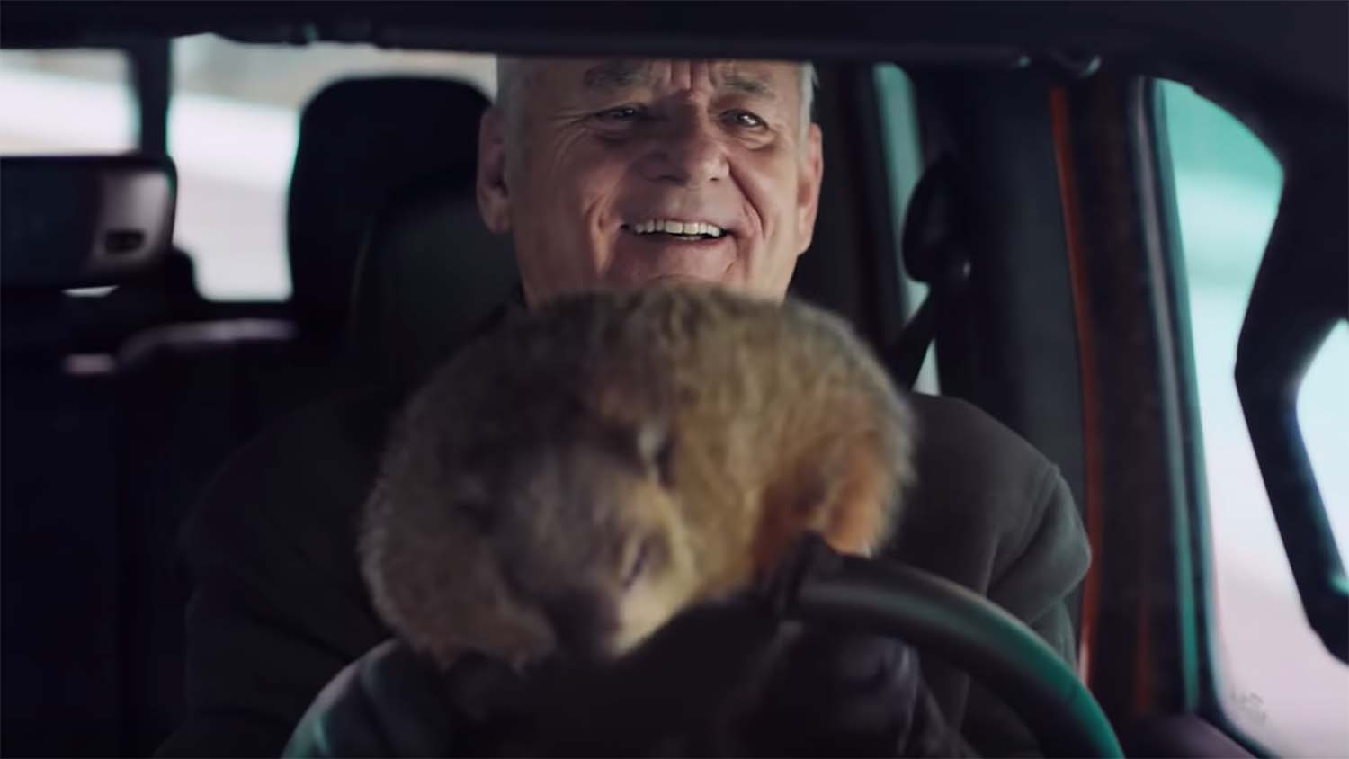 Bill Murray and the Groundhog in Jeep Super Bowl commercial
