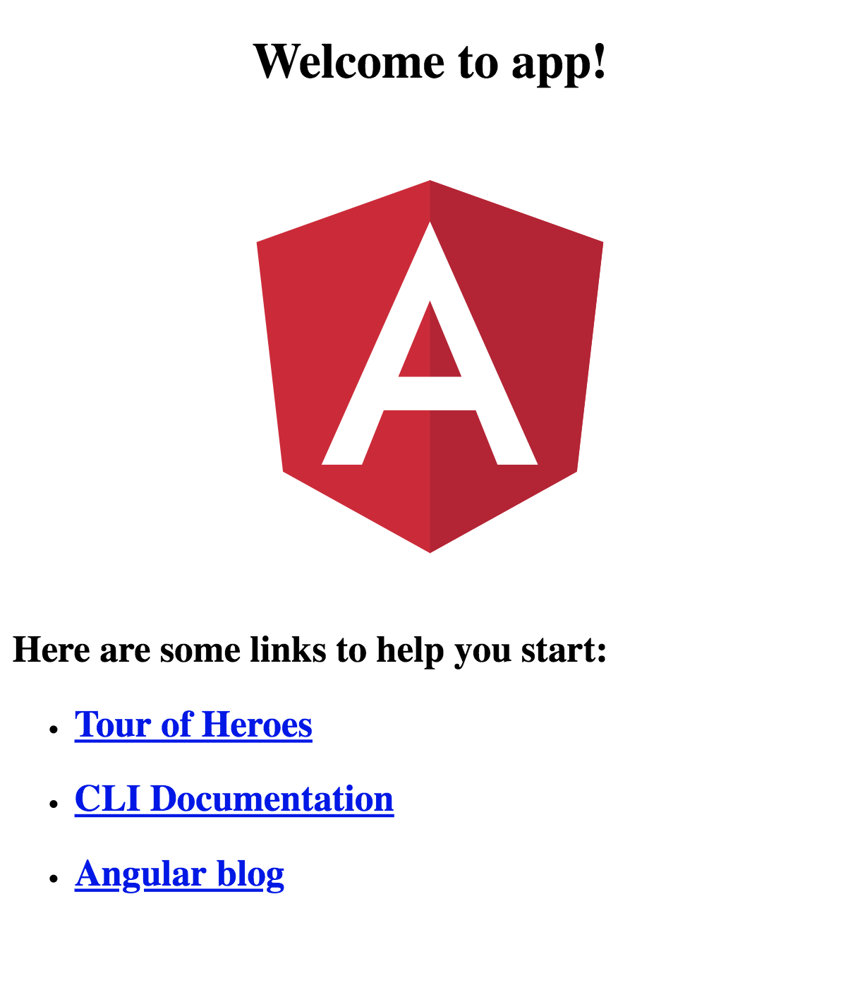 Angular CLI default homepage